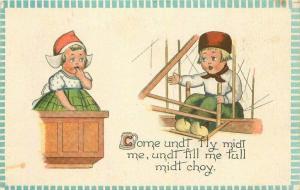 Artist impression Comic Humor Dutch Children C-1910 Early Aviation Postcard 2760