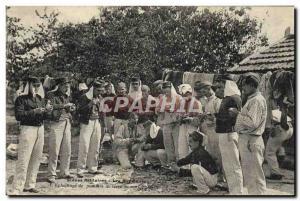 Postcard Old Army Peeling potatoes cantonment