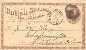 United States Postal Card New York fancy goods small wares store advertising