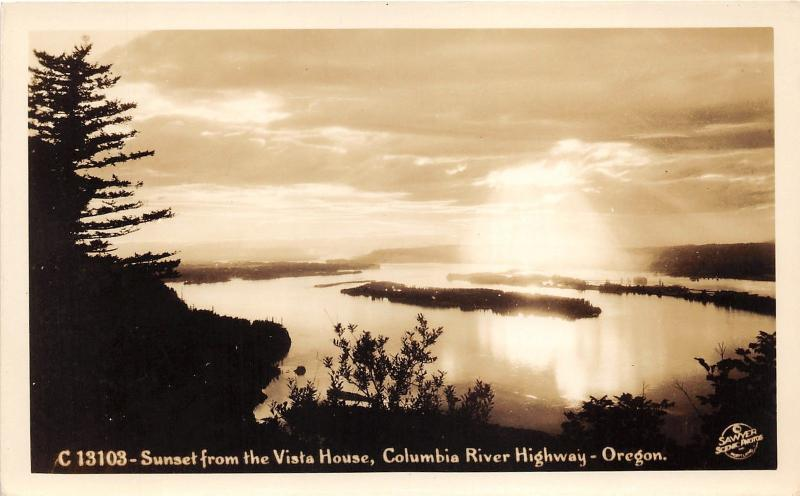 Columbia River Highway Oregon~Sunset from Vista House~1930s Sawyer Scenic RPPC