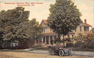 C29/ Reynoldsville Pennsylvania Pa Postcard 1914 Residential District Main St