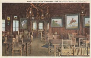 Rustic Dining Room in Pahaska Tepee on LOOKOUT MOUNTAIN, Colorado, 1900-10s