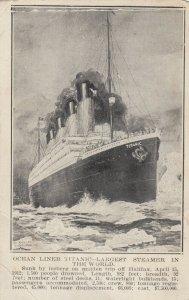 Ocean Liner TITANIC , Largest Steamer in the World , 1912