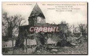 Old Postcard British Army offensive Franco in the Somme Le Ham castle