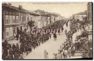 Old Postcard Militaria German prisoners marching past General Souilly Quarter...