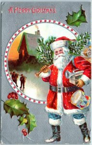 1909 Christmas Postcard SANTA CLAUS Red Suit Toys & Xmas Tree / House Scene