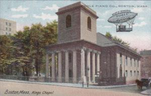 Massachusetts Boston Kings Chapel Poole Piano Company Advertising