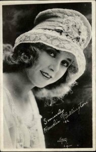 Silent Film Actress Francelia Billington Funky Hat c1920 Real Photo Postcard