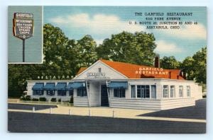 Postcard OH Ashtabula The Garfield Restaurant Vintage Linen I9