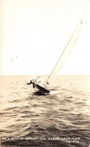 Clear Lake Iowa~Men Hanging on For Life on Capsizing Sail Boat~1940s RPPC