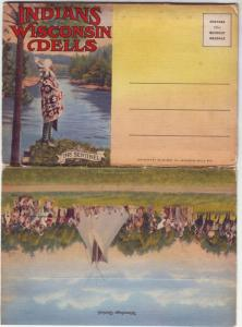 PC68 JLs old foldout 16 views postcard indians wis dells
