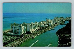 Miami FL- Florida, Fabulous Hotels, Ocean and Beach Views, Chrome Postcard