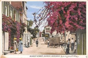 Nassau Bahamas Market Street Antique Postcard J49463