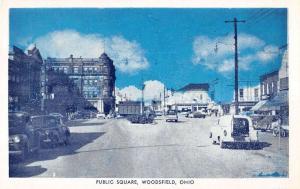Woodsfield Ohio Public Square Scene Historic Cars Antique Postcard K16212