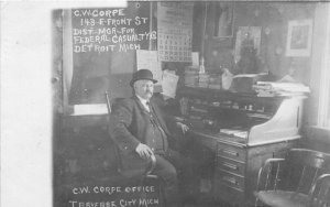 H3/ Traverse City Michigan RPPC Postcard c1910 Corpe Office Interior