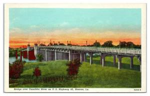 Mid-1900s Bridge over Ouachita River, Monroe, LA Postcard