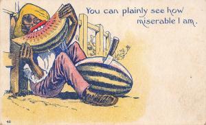 Black Americana Comic~Can Plainly See How Miserable I Am~Fellow Eats Watermelon