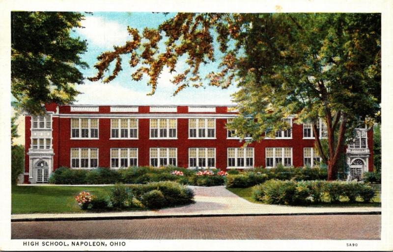 High School Napoleon Ohio 1945 Curteich