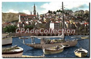 Old Postcard Menton View Of Port And Old Town