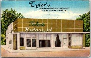 Coral Gables, Florida Postcard TYLER'S RESTAURANT Ponce De Leon Blvd. Linen 1954
