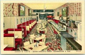 1940s Chamberlain, SD Postcard DERBY'S CAFÉ Restaurant Linen *Back Damage