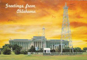Greetings From Oklahoma State Capitol Building With Oil Wells Oklahoma City