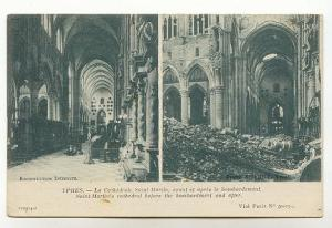 St Martins Before After Bombardment, War Ruins, Ypres Belgium,