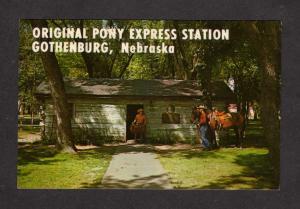 NE Pony Express MaIl  Station Gothenburg Nebraska Postcard Horse Cowboy