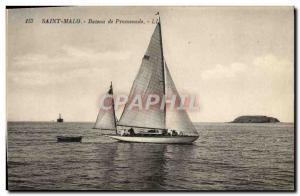 Old Postcard Boat Sailboat Saint Malo Sightseeing boat