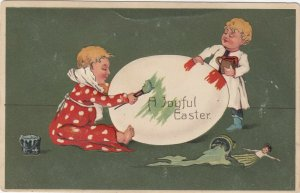 EASTER, PU-1908; Toddlers painting big egg, Doll, PFB 7536