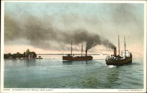 Steamships & Lighthouse - Belle Isle MI c1910 Detroit Publishing Postcard