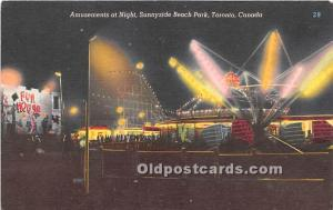 Toronto, Canada Postcard Amusements at Night, Sunnyside Beach Park Unused