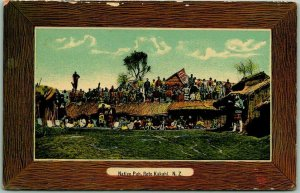 Vintage 1910s NEW ZEALAND Postcard Native Pah, Roto Kahaki Village Scene Huts