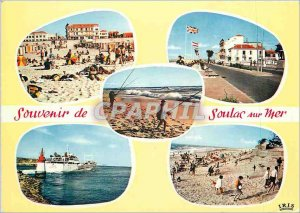 Modern Postcard Soulac sur Mer Gironde Beach Beach Scene and Fishing Boulevar...