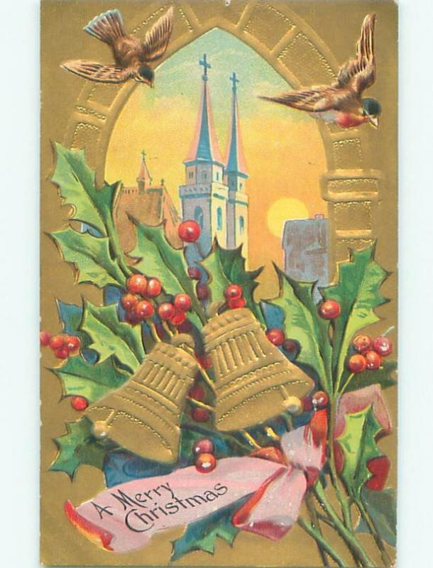Divided-Back CHRISTMAS BIRDS SCENE Pretty Postcard W8572