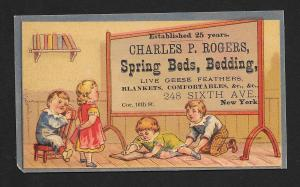 VICTORIAN TRADE CARD CP Rogers Spring Beds School Kids