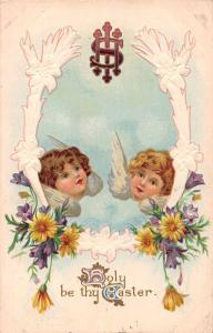 Easter Greetings Angel Faces Cherubs Antique Postcard J75608