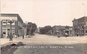 Benton MN Front Street View Store Front's Old Cars 1925 RPPC Postcard