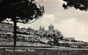 Vintage 1940s B&W Real Photo Postcard, Mdina Cathedral MALTA 80Q