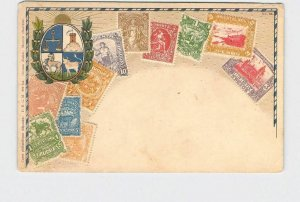 PPC POSTCARD URUGUAY STAMPS POSTAGE COAT OF ARMS EMBOSSED UNDIVIDED BACK #2