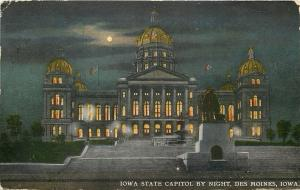 Des Moines Iowa~State Capitol~Night Lights~Dome~Fountain~Monument~Full Moon~1912