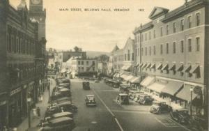 Main Street, Bellows Falls, Vermont 1920s unused Postcard