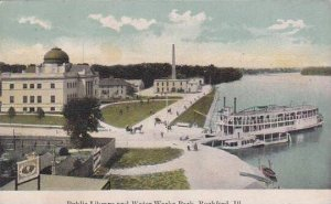 Illinois Rockford Public Library & Water Works Park 1910