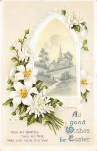 EASTER WISHES c1908 Embossed postcard Flowers Church by International Art Pub