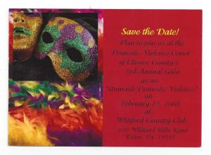 Invitation Postcard Unmask Domestic Violence 3rd Annual Gala