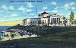 John G Shedd Memorial Aquarium Chicago Posted Illinois Vintage Linen Post Card