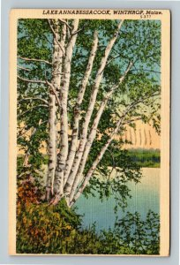 Winthrop ME, Lake Annabessacook, Linen Maine c1941 Postcard