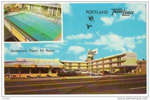 Portland Oregon Travel Lodge Hotel Motel restaurant split view , 50-60s