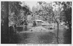 Santa Cruz California~Sequoia Gardens Swimming Pool~Kids on Swim Deck~1920s Pc