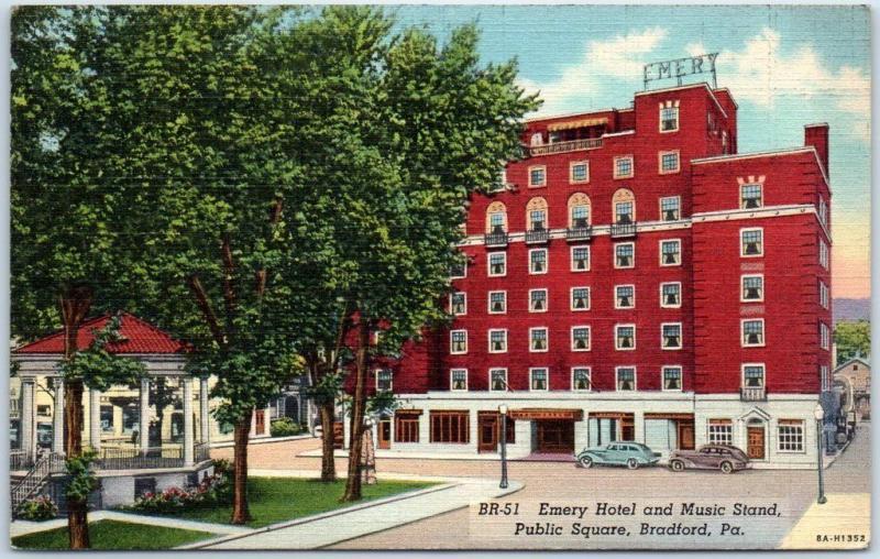 Bradford Pa Postcard Hotel Emery Music Stand Public Square Linen 1940